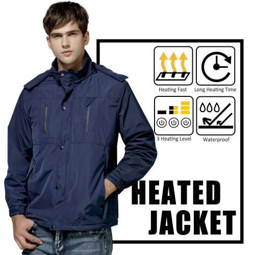 Rabbitroom Rechargeable Heated Jackets For Men Waterproof 3 Heating Setting