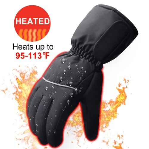 Rabbitroom Winter Electric Heated Gloves with Rechargeable Li-ion Battery, Waterproof Insulated Heating Driving Gloves, Thermal Arthritic Gloves for M