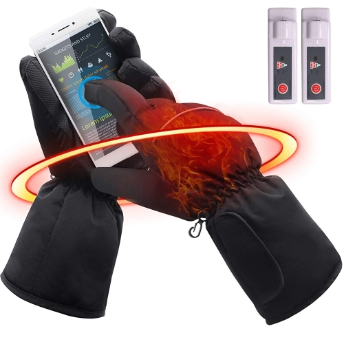Unisex Touchscreen Texting Rechargeable Battery Heated Gloves Kit, Waterproof Winter Warm Thermal Gloves for Outdoor Hiking Camping Sking, Hand Warmer
